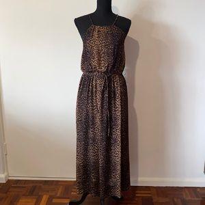 H&M Maxi Haltered Dress Safari/ Leopard Print UK 8 EUR 36 Polyester Pre Owned EC